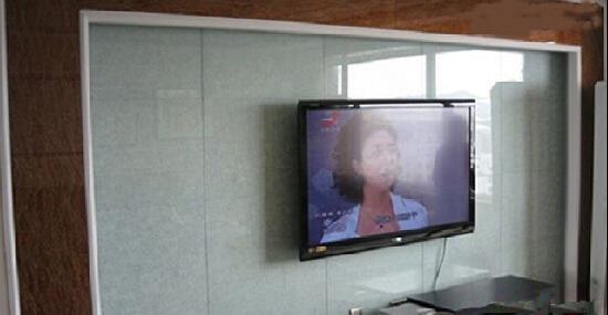 藝術玻璃電視機背景裝點唯美